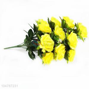Top Quality Yellow Color A Bunch of Artificial Flower for Home Decoration