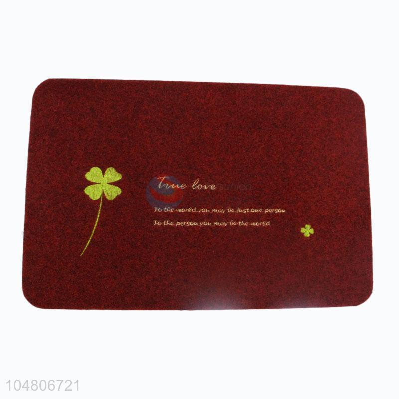 Red Color Four Leaf Clover Printed Rugs