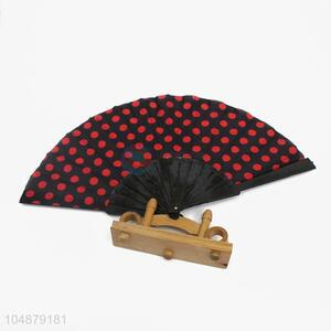 Fashion Dot Pattern Portable Silk Hand Fan