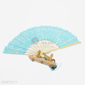 Blue Lace Fashion Women Portable Folding Hand Fan