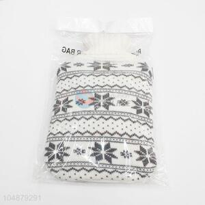 Snowning Pattern Fashion White Weave Hot Water Bag Cover