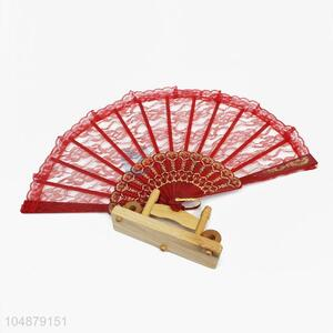 Red Lace Fashion Women Portable Folding Hand Fan