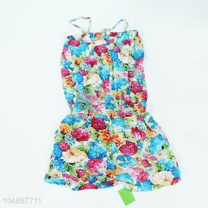 Colorful flower pattern girl rompers