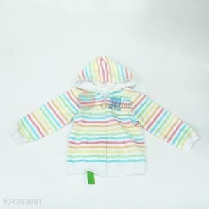 Cute cheap colorful stripe pattern coat for sale