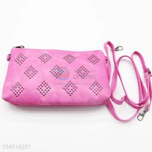 Pretty Simple Style Pink Color Rivet Decoration Messenger Bag