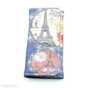 Top Quality Eiffel Tower Pattern Women PVC Long Wallet Card Holder