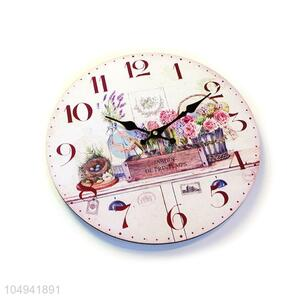 Wholesale premium quality round printed MDF wall clock