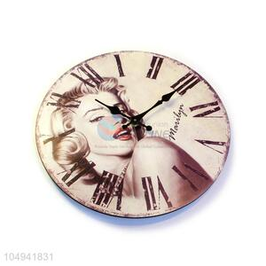 Latest design round printed MDF wall clock
