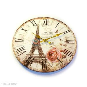 Cheap wholesale round printed wall clock for home decor
