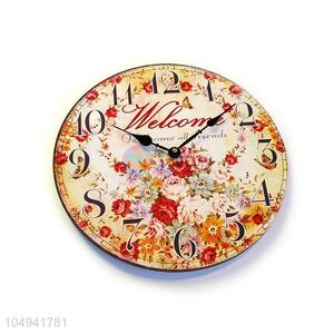 China OEM round printed wall clock for home decor