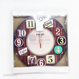 Creative Design Coffee Color Round Shaped Glass Wall Clock