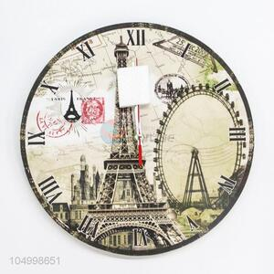 Good Quality Round Shaped Eiffel Tower Pattern Wall Clock for Home Decoration