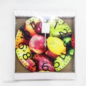 Wholesale Simple Round Shaped Glass Wall Clock for Home Decoration
