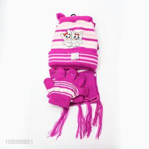 Wholesale Cat Printing Winter Warm Cap and Scarf and Gloves for Children