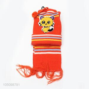 Made In China Cartoon Kids Knitted Winter Hat with Scarf