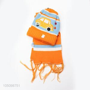Most Popular Cartoon Kids Knitted Winter Hat with Scarf