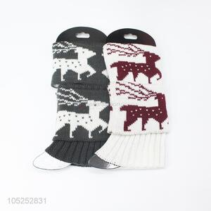 Resonable price ladeis fashio elk pattern knitted leg warmer