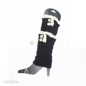 Ready sale women black knitted lace leg warmer