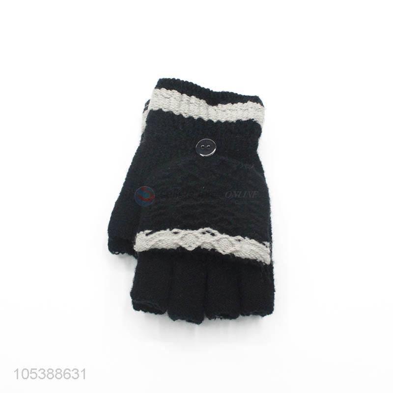 Competitive Price Woman Knitted Gloves Kids Stretch Half Finger