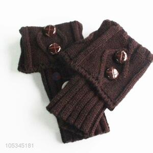 Wholesale brown acrylic short leg warmer with buttons