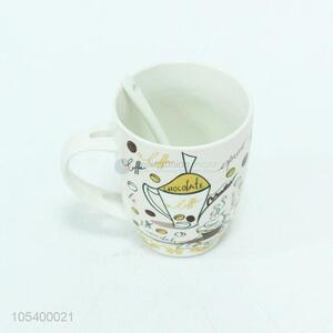 Professional factory supply ceramic cup with spoon
