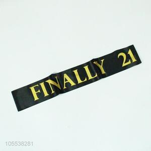 Hot Selling Gold Finally 21 Black Stain Sash For Birthday Party Decorations