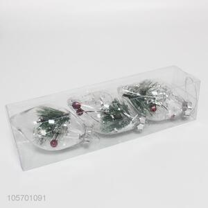 Delicate Design 3 Pieces Transparent Christmas Hanging Ball
