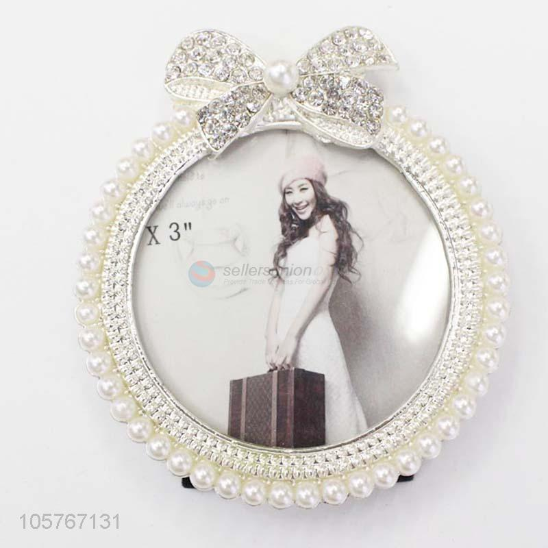 High Quality Pearl-encrusted round Photo Frame Gift for Friend ...