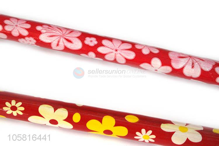High Quality Flower Coated Wooden Broom Stick