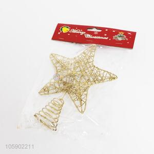 Hot sell christmas tree decor 3D golden wire glitter top star