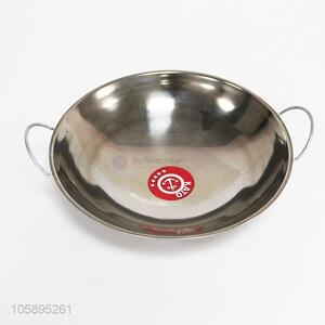 Hot selling kitchen stainless iron pan with double ears