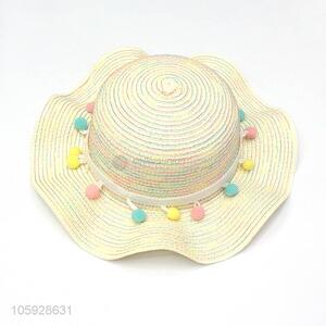 Wholesale girl kids baby hand made crochet straw hats beach hat