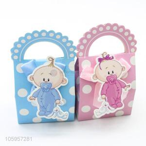 Cute design baby birthday favors candy gift box