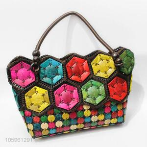 Fashion Design Handmade Woven Colorful Handbag For Ladies