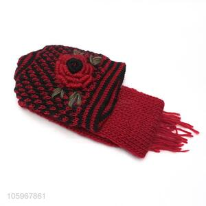 Best price winter warm thick knitted women winter hat and scarf set
