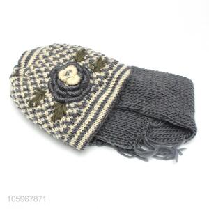 Premium wholesale winter warm knitted hat and scarf set