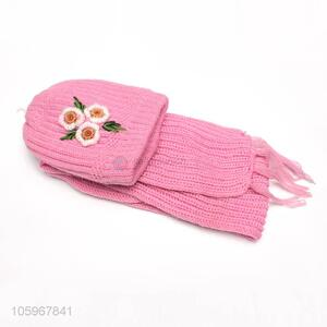 Top selling winter lady pink color knitted scarf and hat set with flower decorations