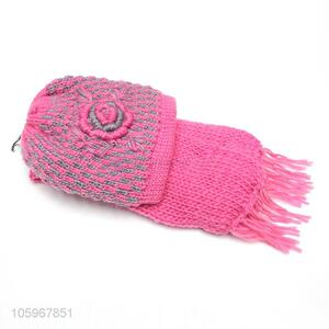 Wholesale customized winter warm knitting hat and scarf set