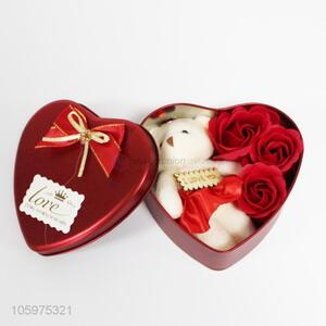 Valentine's Day Originality Gift Iron Box Bear Soap Simulation Flower