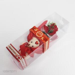 Lovely Valentine's Day Bear and Artifical Rose Flower Gift