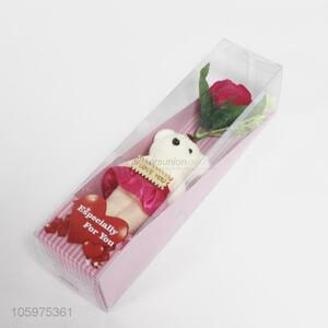 Best Sale Artifical Rose Flower and Bear for Valentine Day Gift
