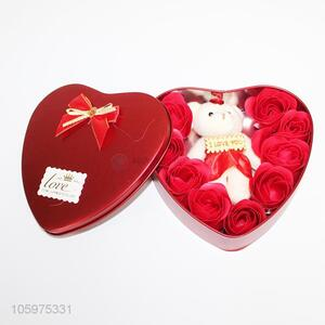 Factory Direct Iron Box Bear Soap Simulation Flower Valentine's Day Gift