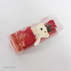 Valentine's Day Originality Gift PVC Box Bear and Simulation Flower