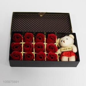 China Factory Beauty Rose Flower Red Flowers With Cute Bear Doll For Gifts