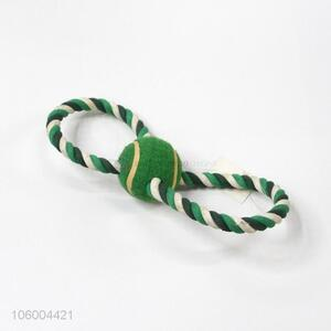 Wholesale braided cotton rope dog toy with tennis ball