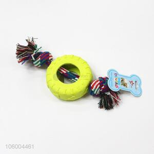 New fashion puppy dog pet tyre toys with rope chew pet toys