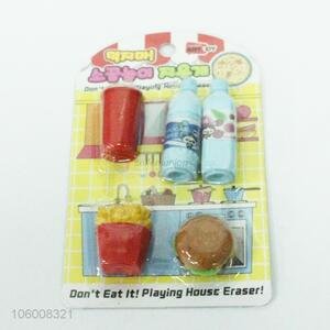 Hot Selling Rubber TPR Cute 3D Earser Funny Erasers Set