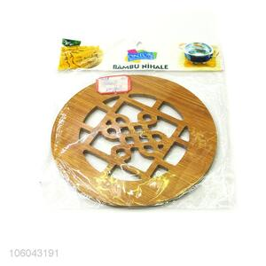 New design kitchen utensils retro round hollow-out bamboo placemat