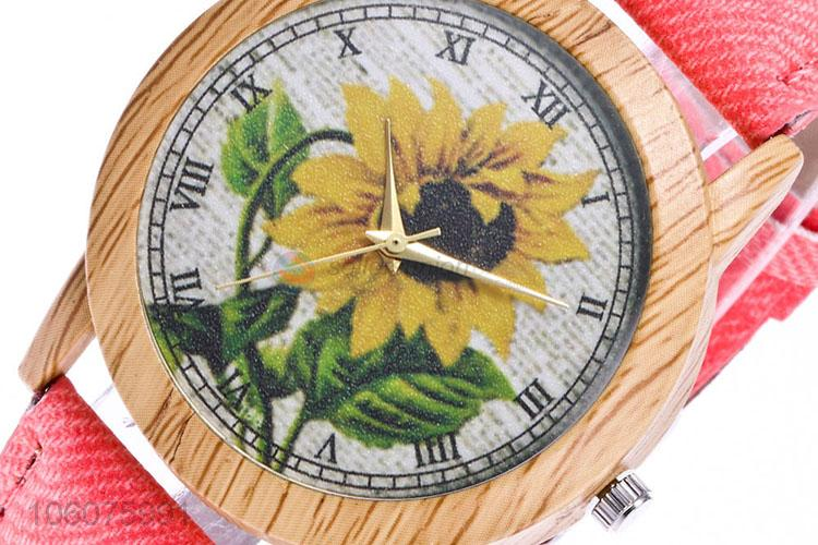 High sales canvas strap quartz wrist watch for women
