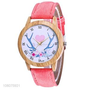 Bottom price ladies cartoon pattern dial plate canvas strap wrist watch